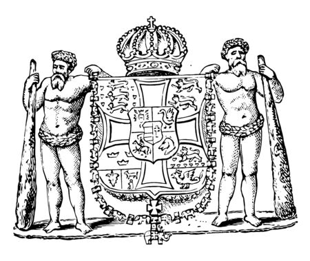 Coat of Arms, Denmark, this seal has two men holding shield, shield has a horse rider, lions, hearts, cross, and different types of animals, it has crown on top of shield, vintage line drawing or engraving illustration