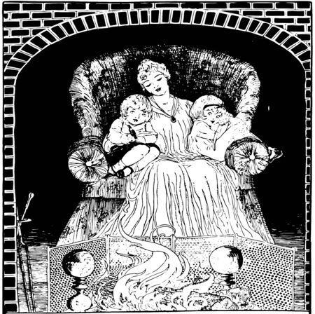 Here in this image mother and her two children are sitting in the chair and warming themselves by sitting near the fireplace, vintage line drawing or engraving illustration.