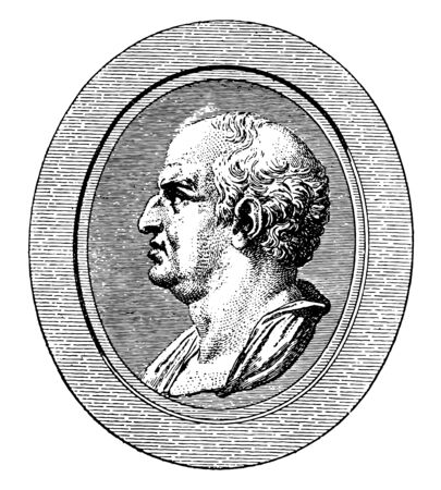 Mcenas, he was the first emperor of Rome, vintage line drawing or engraving illustration Иллюстрация