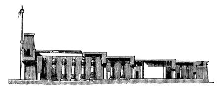 Cross Section of the Temple of Khonsu, Egyptian architecture, karnack, new kingdom temple, precinct of amun-re, temple of chensu, vintage line drawing or engraving illustration.