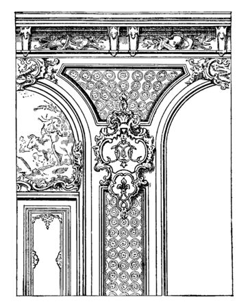 Regency Style is history of the fine arts in France in classical buildings built in Britain during the Regency era in the early 19th century, vintage line drawing or engraving illustration.