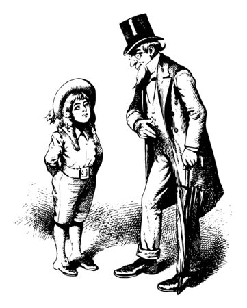 A man in a top hat is talking with a young boy and he is holding a umbrella in his hand, vintage line drawing or engraving illustration.