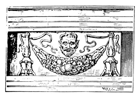 Encarpus, In architecture, a sculptured ornament, imitation of a garland, festoon of fruits, leaves, flowers, suspended between two points, vintage line drawing or engraving illustration. Vettoriali