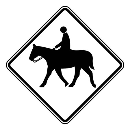 Color of Equestrian Crossing signs may be used to alert road users in advance of locations where unexpected entries into the roadway, vintage line drawing or engraving illustration.