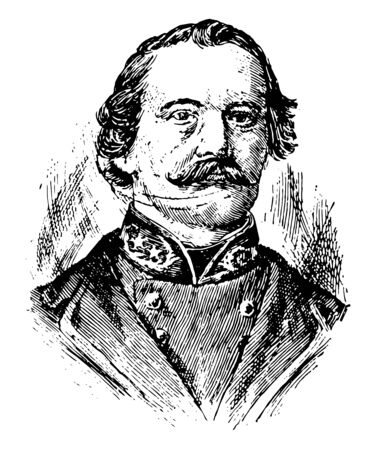 Albert Sidney Johnston, 1803-1862, he was a general in three different armies: the Texian army, the United States army, and the Confederate States army, vintage line drawing or engraving illustration
