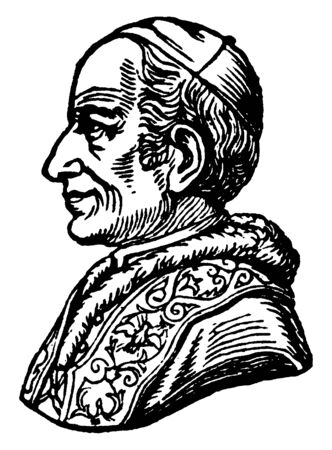 Pope Leo XIII - Side Portrait, 1810-1903, he was a pope from 1878 to 1903, vintage line drawing or engraving illustration 일러스트