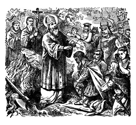 Saint Peter of Verona, also known as Saint Peter Martyr, was a 13th-century Italian Catholic priest. He was died in 6 April 1252, Como, Italy, vintage line drawing or engraving illustration.