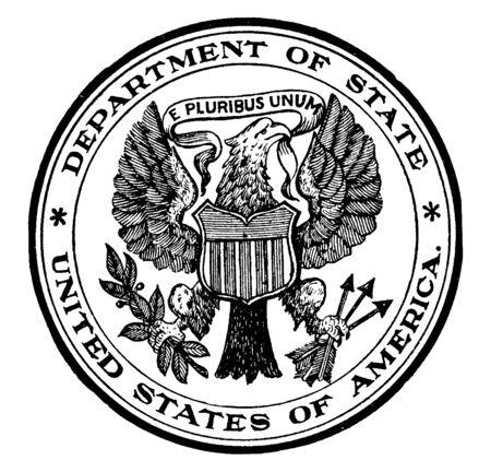 El sello del Departamento de Estado de los Estados Unidos, este sello en forma de círculo tiene un águila calva con el lema E PLURIBUS UNUM tiene un escudo con rayas en el pecho y sostiene una rama de olivo y flechas, dibujo de línea vintage o ilustración de grabado Ilustración de vector
