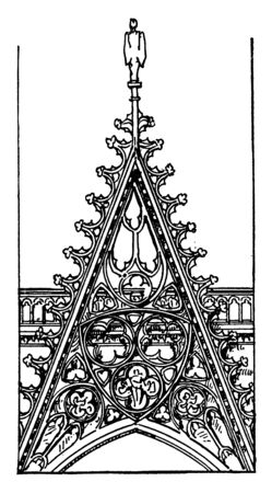 Openwork Gable, From Front of Rouen Cathedral, generally triangular portion, wall between the edges, a sloping roof, vintage line drawing or engraving illustration.