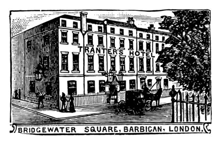 This is the Tranter's hotel which is located in London, vintage line drawing or engraving illustration. Ilustração