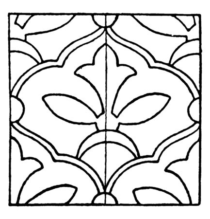 Persian Enamel Pattern is a Glass Fusing Decal, vintage line drawing or engraving illustration. Stock Illustratie
