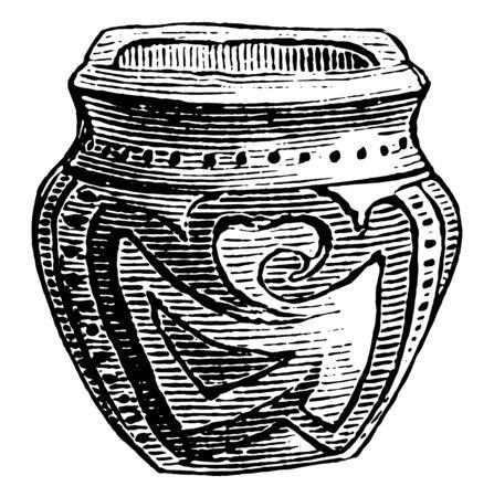 Earthen Vase made by Native Americans, Earthen Vase built at Chitrakala Parishatha, vintage line drawing or engraving illustration.
