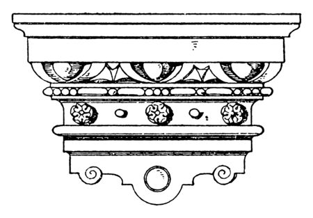 Renaissance Console is found in a castle in Baden-Baden, triangular shapes, aged brass or polished nickel, vintage line drawing or engraving illustration. Illusztráció