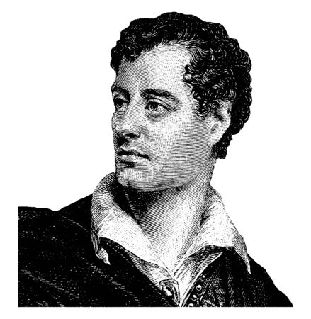 Lord Byron (George Gordon Noel), 1788-1824, he was an English poet, politician, and a leading figure in the romantic movement, famous as one of the greatest British poets, vintage line drawing or engraving illustration 向量圖像