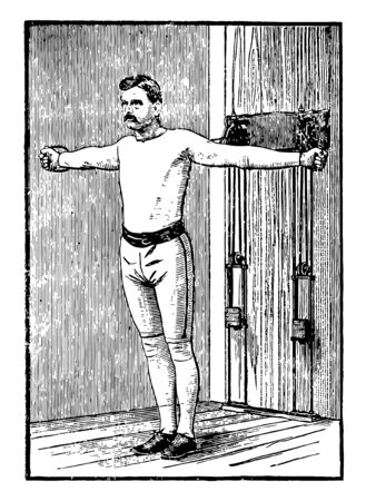 A man doing chest exercise by pulling weights and keeping his both arms straight, vintage line drawing or engraving illustration. Illustration