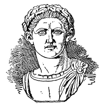 Constantine, 272 AD-337AD, he was emperor of Rome from 306 to 337, famous for being the first Christian Roman emperor, vintage line drawing or engraving illustration