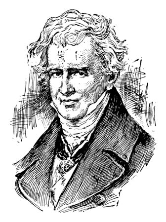 Baron von Humboldt, 1769-1859, he was a Prussian geographer, naturalist, explorer, and influential proponent of romantic philosophy and science, vintage line drawing or engraving illustration