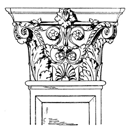 Corinthian Pilaster Capital, flutes, flat, tops, frieze, exhibits, swag , vintage line drawing or engraving illustration.