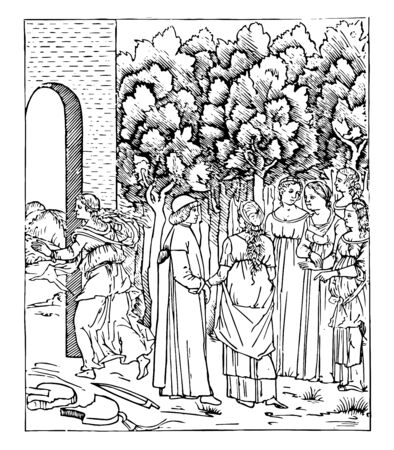 Poliphilo in the Garden are one of the first printed books by Aldus Manutius, vintage line drawing or engraving illustration.
