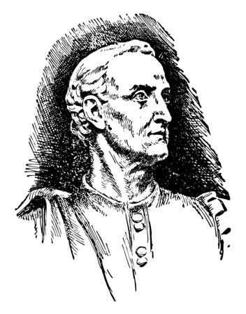 Americus Vespicius, 1454-1512, he was an Italian explorer, financier, navigator and cartographer, vintage line drawing or engraving illustration