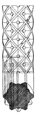 Romanesque Decorated Shaft, Geometrical, networks, ornamented, vintage line drawing or engraving illustration. Çizim