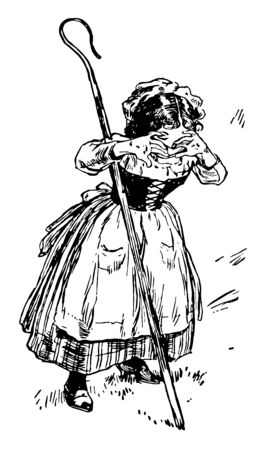 Little Bo Peep, this picture shows a little girl with stick is crying, vintage line drawing or engraving illustration Stok Fotoğraf - 133008075
