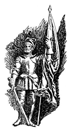 Vasco Nunez de Balboa, c. 1475-1519, he was a Spanish explorer, governor, and conquistador who is most known for having crossed the Isthmus of panama to the pacific ocean in 1513, vintage line drawing or engraving illustration Ilustração