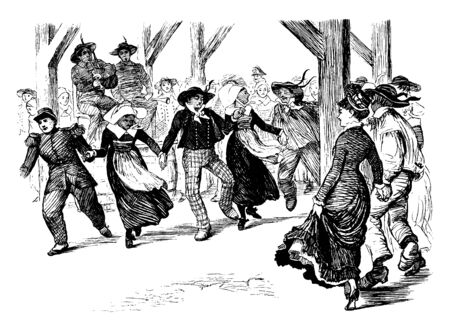 Group Dancing of men and woman is opposed to individuals dancing alone or individually with same steps at the same time, vintage line drawing or engraving illustration.