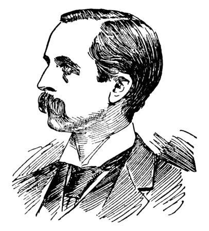James M. Barrie, 1860-1937, he was a Scottish novelist and playwright, famous for creating Peter Pan, vintage line drawing or engraving illustration 向量圖像