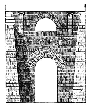 Etruscan Arch at Perugia,  Etruscan buildings traces,  the Gate of Volterra, marshy district between the hills of Rome inhabitable, vintage line drawing or engraving illustration.