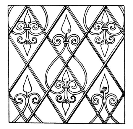 German Renaissance Pattern  is a net design filled with recurring ornamental accessories, vintage line drawing or engraving illustration.