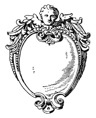 Renaissance Strap-Work Frame was an invention of the Renaissance, vintage line drawing or engraving illustration.