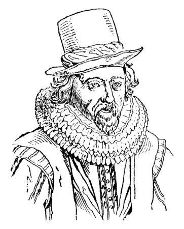 Francis Bacon, 1561-1626, he was an English philosopher, author, statesman and scientist, famous for his promotion of the scientific method, vintage line drawing or engraving illustration