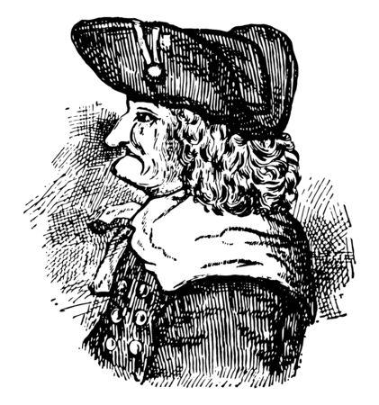 James E. Oglethorpe, 1696-1785, he was a British soldier, Member of Parliament, philanthropist, and governor of Georgia, vintage line drawing or engraving illustration Illusztráció