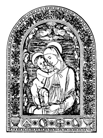 This is Virgin Mary and Jesus. This is an illustration of an enameled clay relief of the Virgin Mary and Jesus, vintage line drawing or engraving illustration. Illusztráció