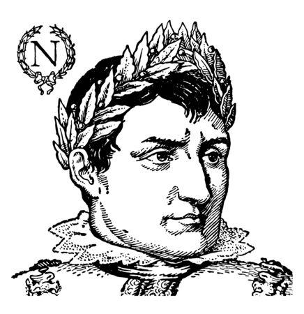 Napoleon as Emperor, he was emperor of France, vintage line drawing or engraving illustration Vecteurs