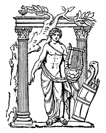 A sketch showing god of music, Apollo, standing on door with his music instruments, vintage line drawing or engraving illustration.