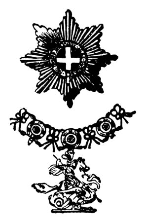 The Garter is a military decoration of Europe, this medal has chain with a horse rider who is killing dragon with spear, vintage line drawing or engraving illustration