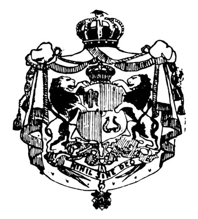 Romanian Coat of Arms is a European coat, vintage line drawing or engraving illustration.