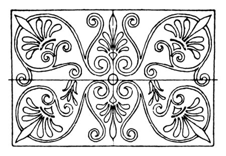 Greek Oblong Panel is found in the painted coffers of the ceilings of Propylaea, vintage line drawing or engraving illustration. Иллюстрация