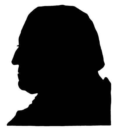Silhouette of George Washington, vintage line drawing or engraving illustration