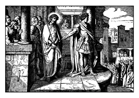 Pilate brought Jesus on higher balcony.Some people stood below and yelling.Soldier and men stood beside Jesus.Jesuss hand bounded by rope, vintage line drawing or engraving illustration.