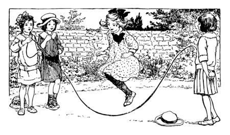 The girls are playing with the rope. Two girls have caught the rope and the third girl is skipping the rope, vintage line drawing or engraving illustration.