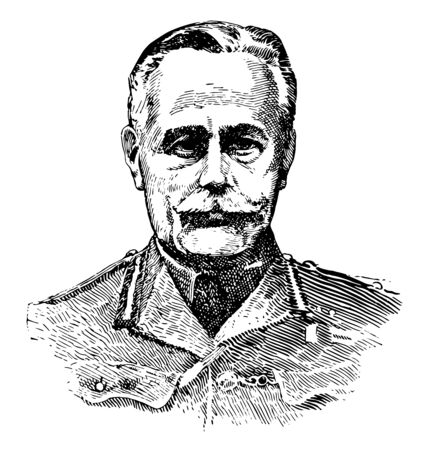 Sir Douglas Haig, 1861-1928, he was a senior officer of the British Army and senior commander during first world war, vintage line drawing or engraving illustration Illusztráció