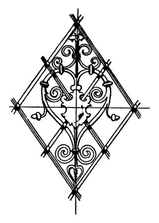 Grill Lozenge Panel is a German Renaissance design, vintage line drawing or engraving illustration.