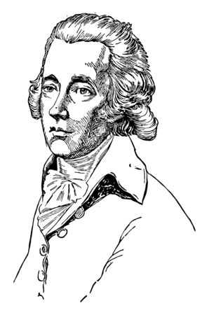William Pitt the Younger, 1759-1806, he was a prominent British Tory statesman  and the prime minister of the United Kingdom, vintage line drawing or engraving illustration