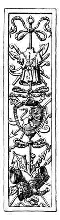 Trophy Door Panel was used as a decoration material and its from during the German Renaissance, vintage line drawing or engraving.  イラスト・ベクター素材