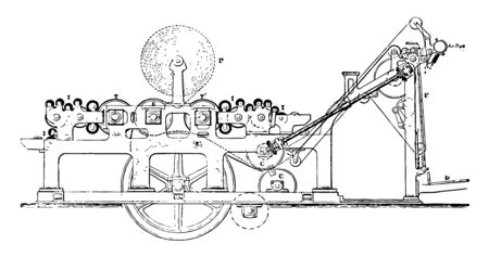 This illustration represents function of Web Machine Printing Press, vintage line drawing or engraving illustration. Ilustrace