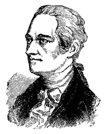Alexander Hamilton, 175557-1804, he was an American statesman, first United States  secretary of the Treasury, and one of the founding fathers of the United States, vintage line drawing or engraving illustration