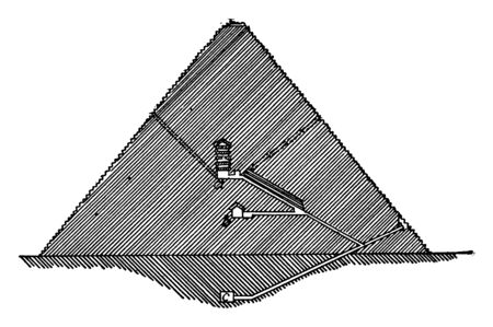 Section of Great Pyramid, Egyptian architecture, great pyramid giza cross section, interior view, vintage line drawing or engraving illustration.